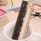 1 x Wooden Ruler Sweet Lace Measuring Sewing Stationery Ruler Black