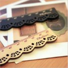 1 x Wooden Ruler Sweet Lace Measuring Sewing Stationery Ruler Beige