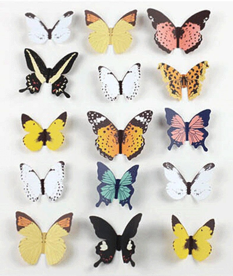12 pcs Colorful Butterfly Stickers Making Stickers Wall Sticker Craft Butterflie db