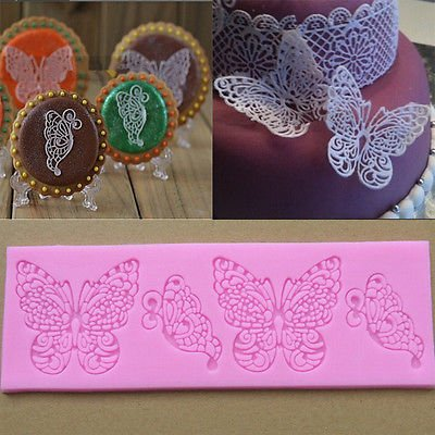 Cake Decorating Lace Mold Maker Fondant Silicone Mold Butterfly Gum Paste Tools Random Color