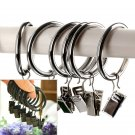 Stainless Iron Window Curtain Clips with Rings Curtain Hooks 10pc Silver Color