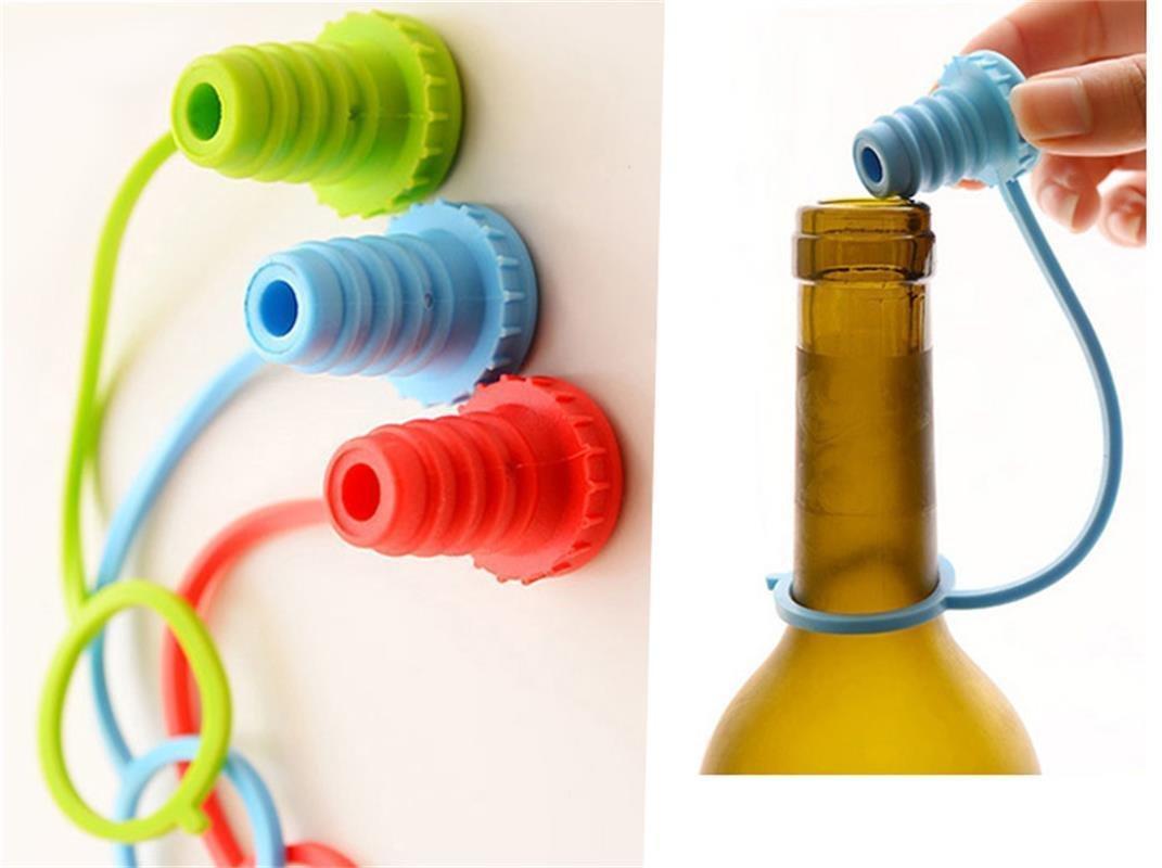 Kitchen Practical Silicone Vacuum Wine Bottle Cap Stopper Gadgets Plug Anti-lost 2 Pcs