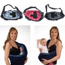 Baby Infant Newborn Adjustable Carrier Sling Wrap Rider Backpack Pouch Ring Light Dark Blue  x 1