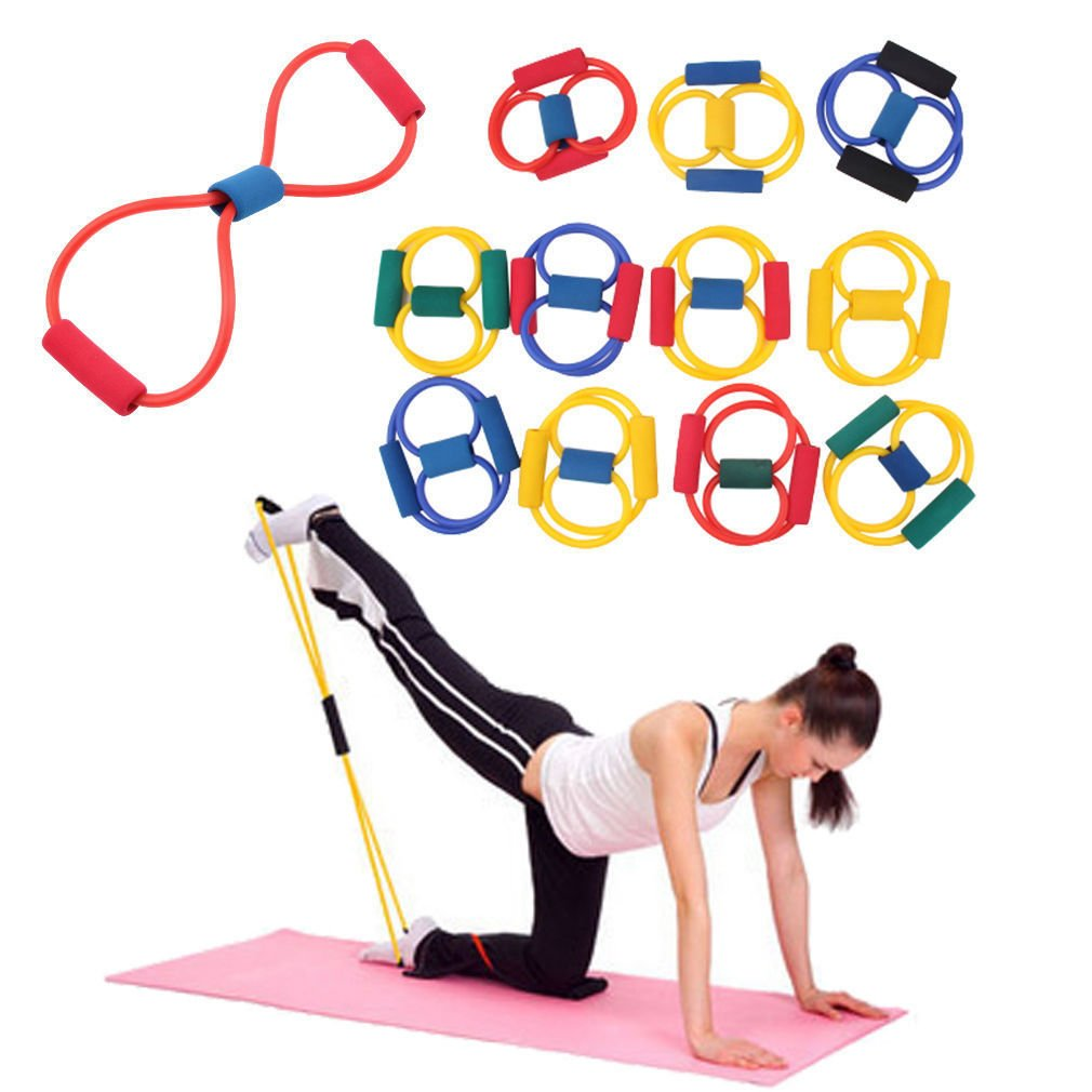Resistance Bands Stretch Tube Fitness Workout Exercise For Yoga Training Blue Color