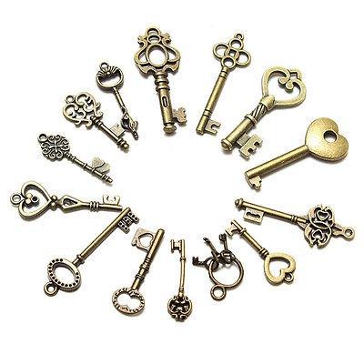 15pcs Mixed Random Antique Vintage Old Look Skeleton Key Lot Crown Bow Charm db