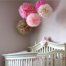 2 Pcs Pink 10'' Wedding Party Home Birthday Tissue Paper Pom Poms Flower Balls Décor db