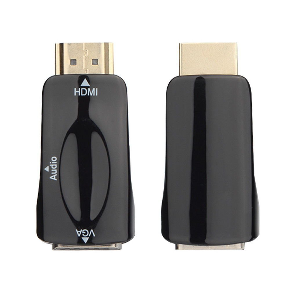 HDMI Male To VGA Female Converter Box Adapter With Audio Cable For PC HDTV Black dbdb