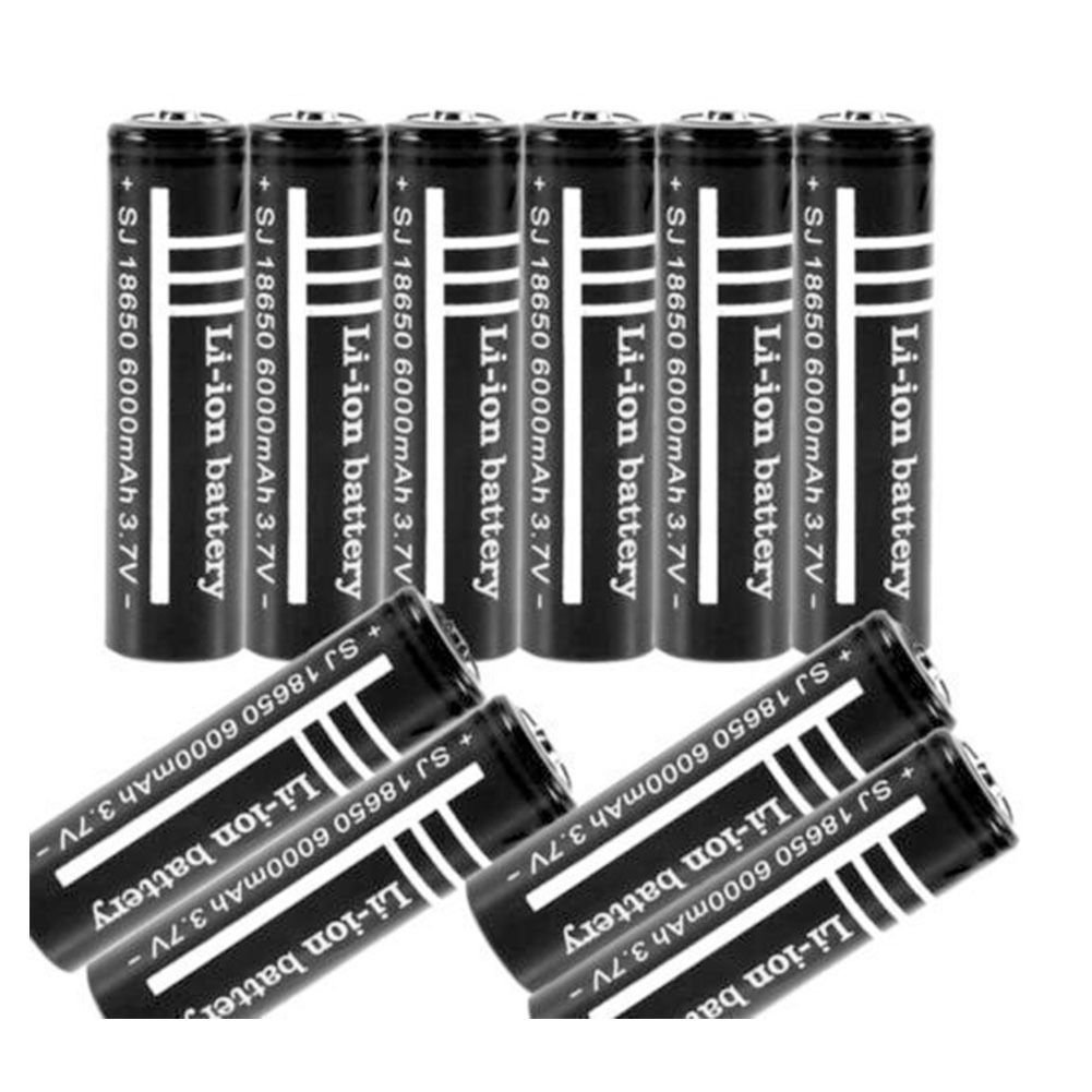 10pcs 3.7V 6000mAh 18650 Li-ion Rechargeable Battery for UltraFire Flashlight dbdb