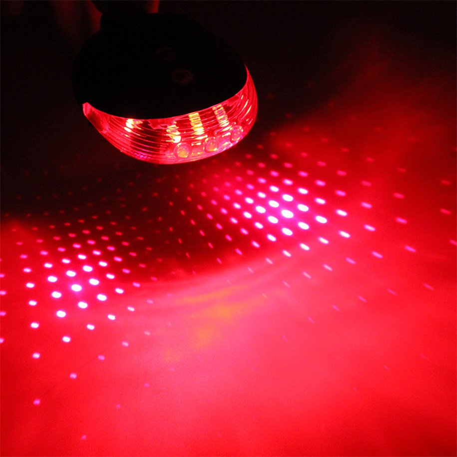 5 LED Laser Beam MTB Mountain Bicycle Bike Rear Tail Warning Lamp Light Red with Starry Sky Lines