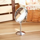 Double-Sided Mirror Desk Makeup Stainless Steel Holder Round Shap  db