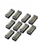 10 Pcs Dual Row 4 Position Screw Terminal Block Strip 600V 15A with Cover db