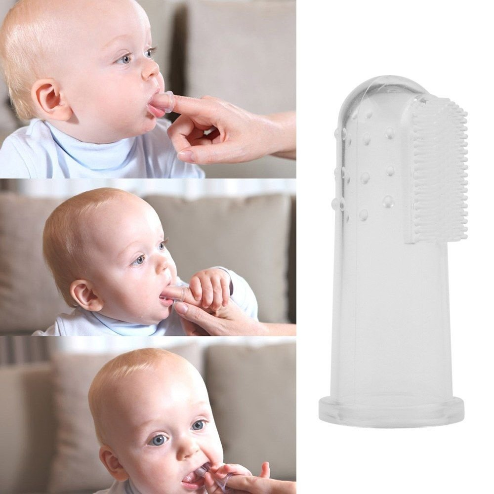 Kids Baby Infant Soft Silicone Finger Toothbrush Teeth Rubber Massager Brush 1 Pcs