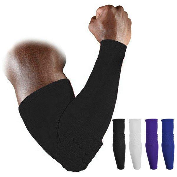 Honeycomb Pad Crashproof Football Basketball Shooting Arm Sleeve Elbow Support 1 Pcs BlUE Size M