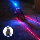 5 Blue LED 2 Laser Beam Bicycle Bike Cycling Tail Rear Light Safety Warning Lamp db