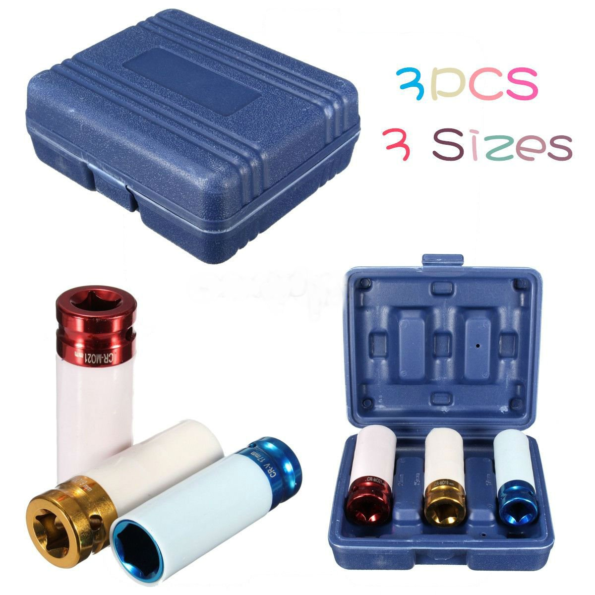 3Pcs Alloy Thin Wall Wheel Nut Deep Impact Socket Drive Set db