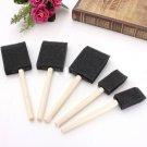 5x Black Foam Brush Sponge Wooden Handle Art Craft Painting Varnish Finishes db