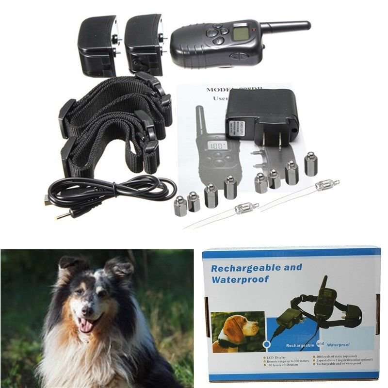 Rechargeable Waterproof LCD 100LV Level Shock Vibra Remote 2Dog Training Collar db