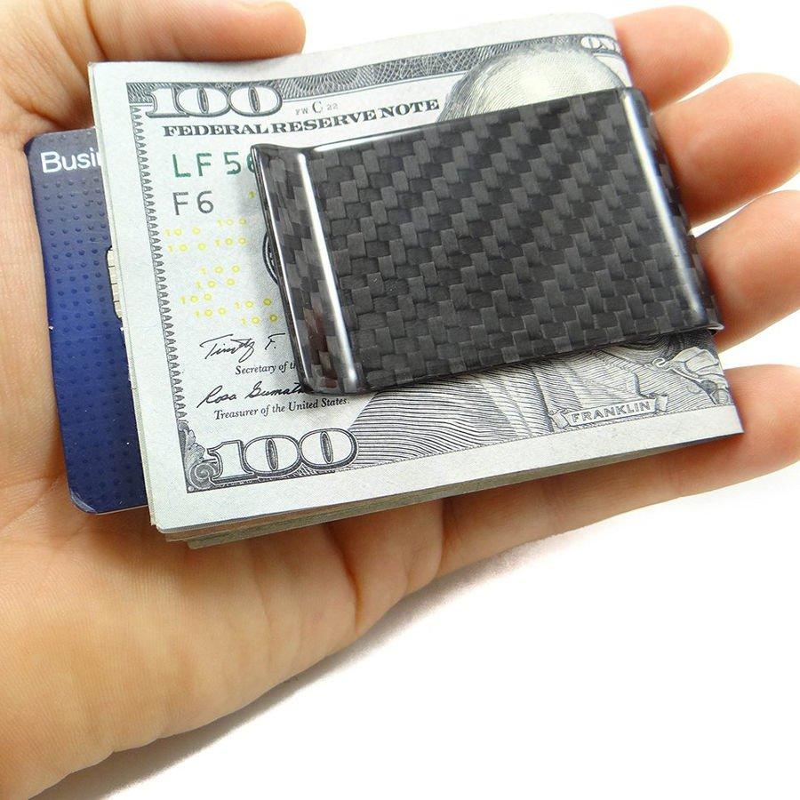 Mens Carbon Fiber Business Card Credit Card Holder Cash Wallet Money Clip Matte db