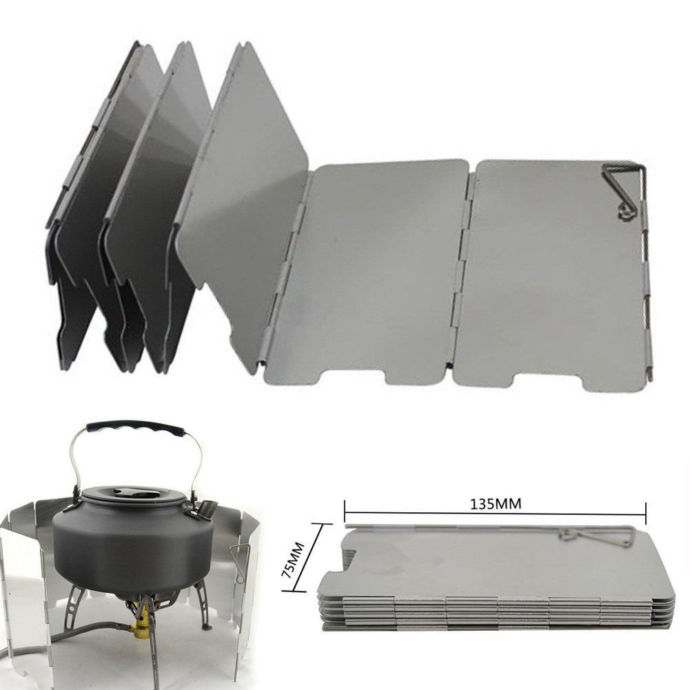 9 Plates Foldable Burner Windshield for Outdoor Camping Cooking Wind Shield QRB
