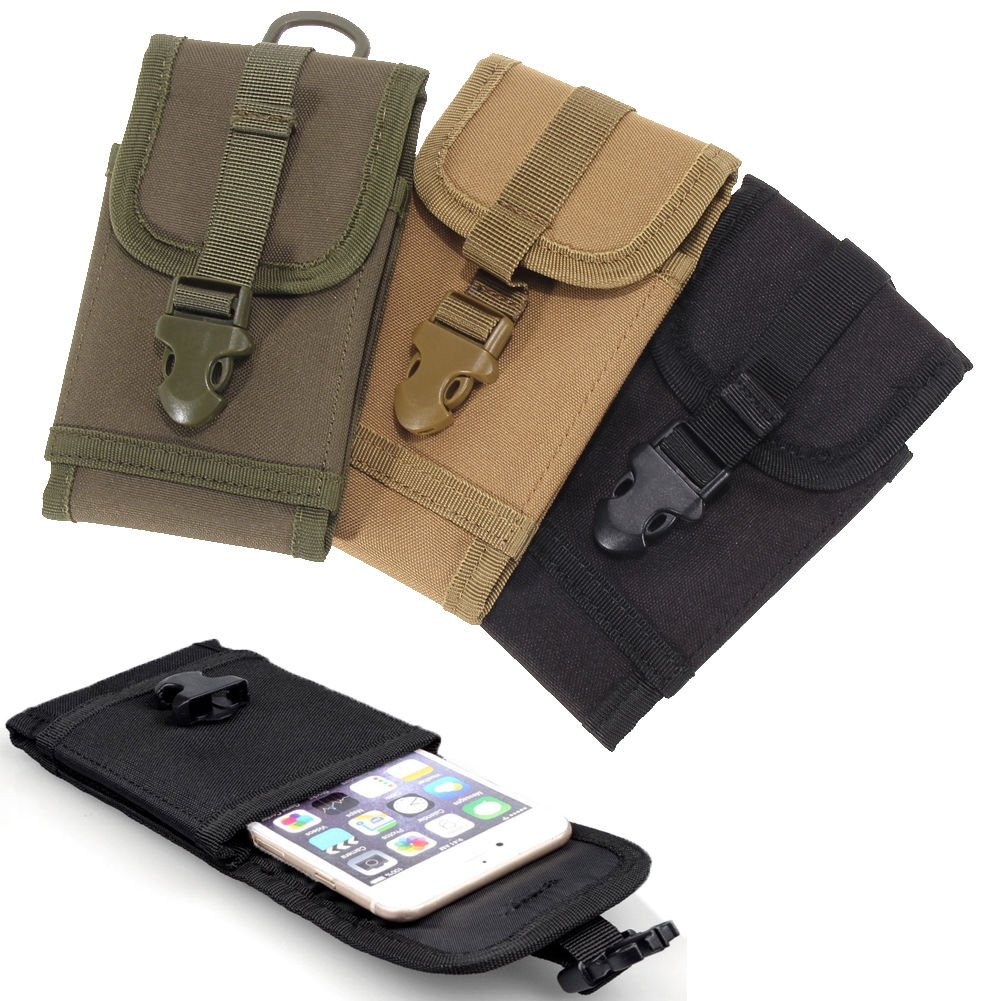 """Tactical Military Molle Smartphone Pouch  for iPhone 6s Plus 5.5"""" Black Color 1 Pcs"""