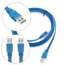 Flat USB 3.0 A Male to A Male Noodles Data Cable Cord 5Gbps 6FT Blue SDFI
