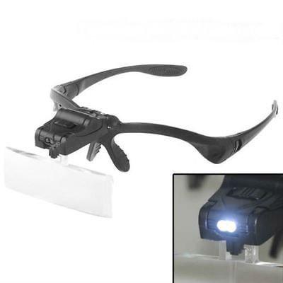 5 Lens Head Band Magnifier Glass Visor 2-LED Light Magnifying Loupe db