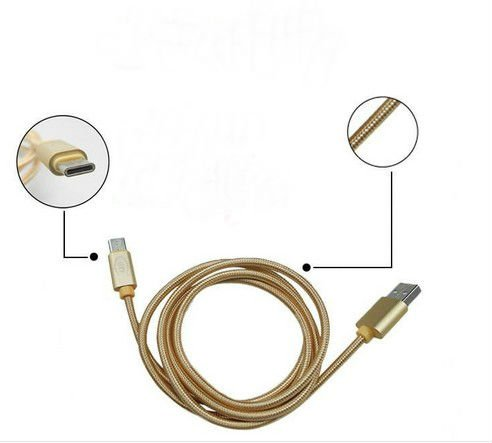 1M Type-C USB Data Cable Nylon Copper Core Fast Charging and Data Transmission for Letv W918 Golden