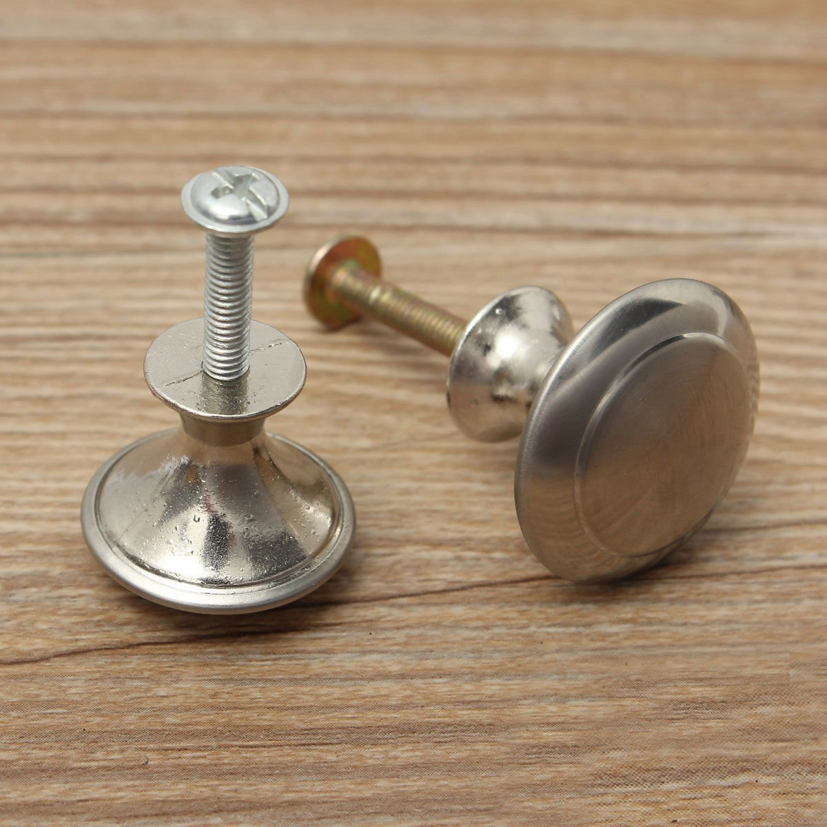 4 Pcs Stainless Steel Satin Nickel Cabinet Round Pull Knobs Hardware W/ Screw 28MM