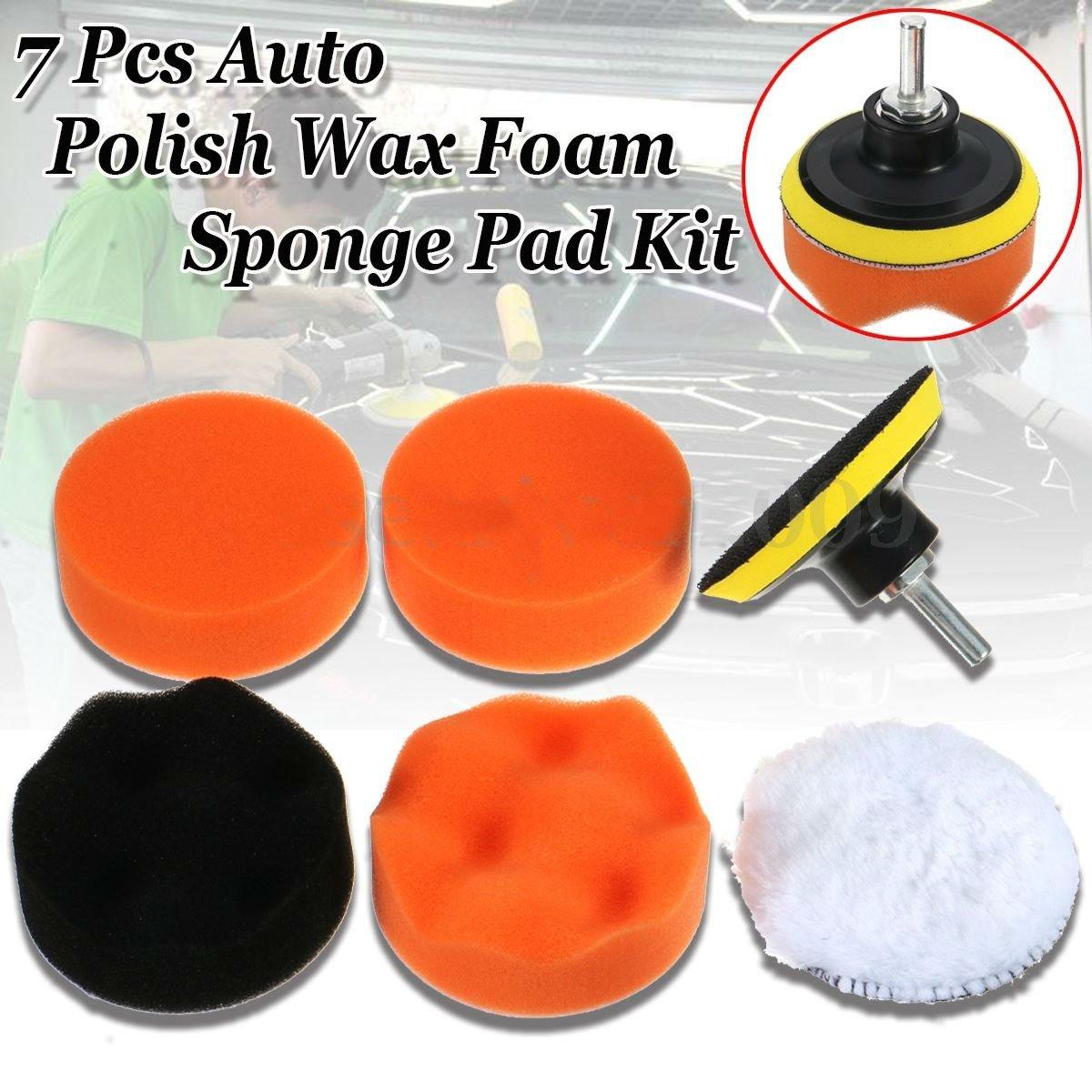 """7pc 3"""" Auto Car Polish Wax Foam Sponge Pad Polisher Buffer Set Drill Adapter Kit db"""
