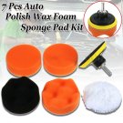 "7pc 3"" Auto Car Polish Wax Foam Sponge Pad Polisher Buffer Set Drill Adapter Kit db"