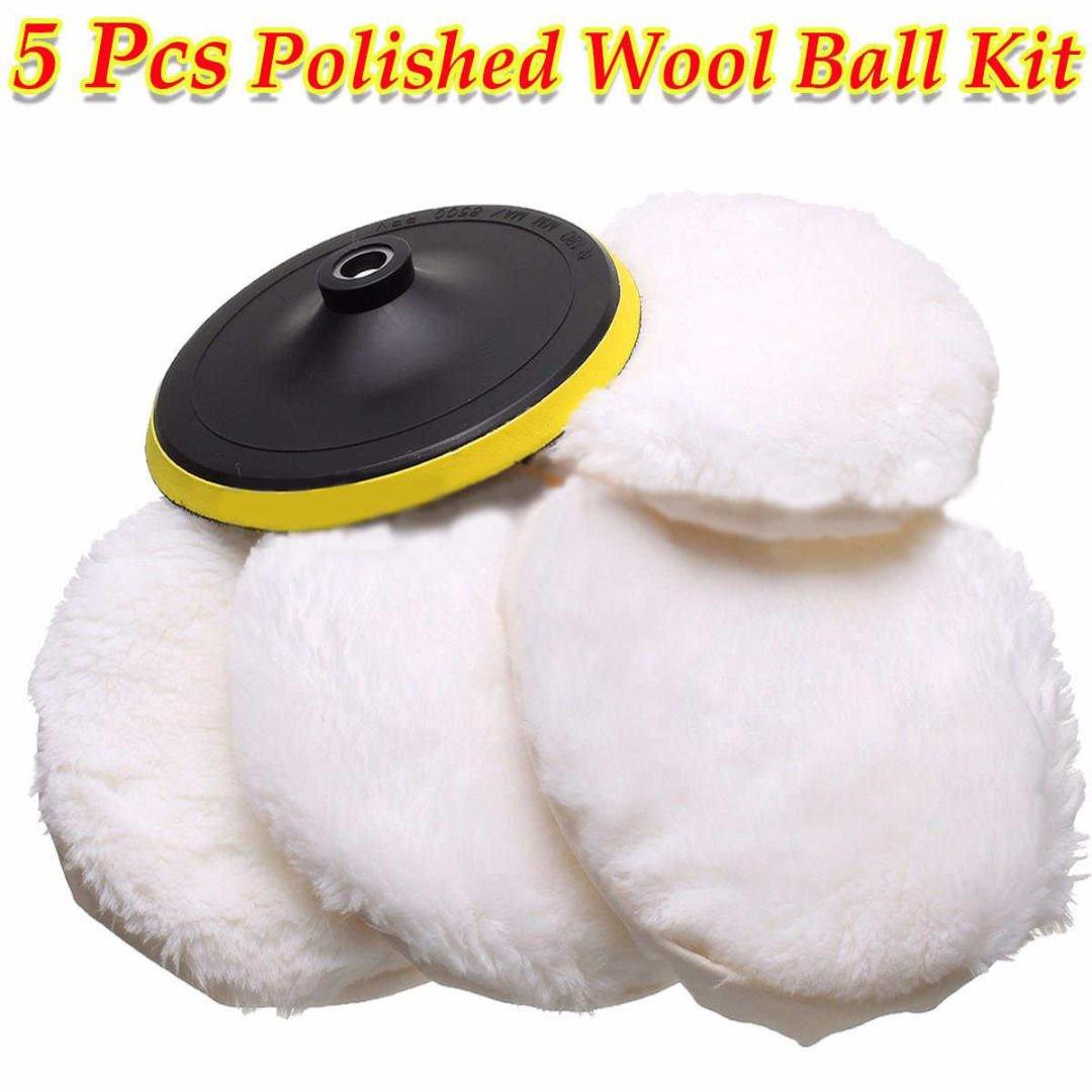5Pcs 7'' Polisher/Buffer kit Soft Wool Bonnet Pad Hook Loop Heavy Cut Pad White db