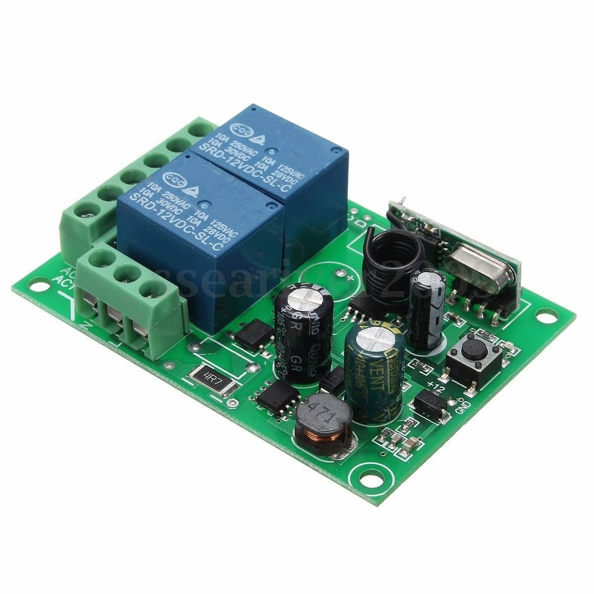 2CHANNEL 433 MHZ Channel Wireless RF Relay Remote Control Switch Receiver 10A 220V bdd