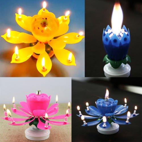 Singing Music Musical Birthday Candles Lotus Flower Sparkler Cake Party Gift db