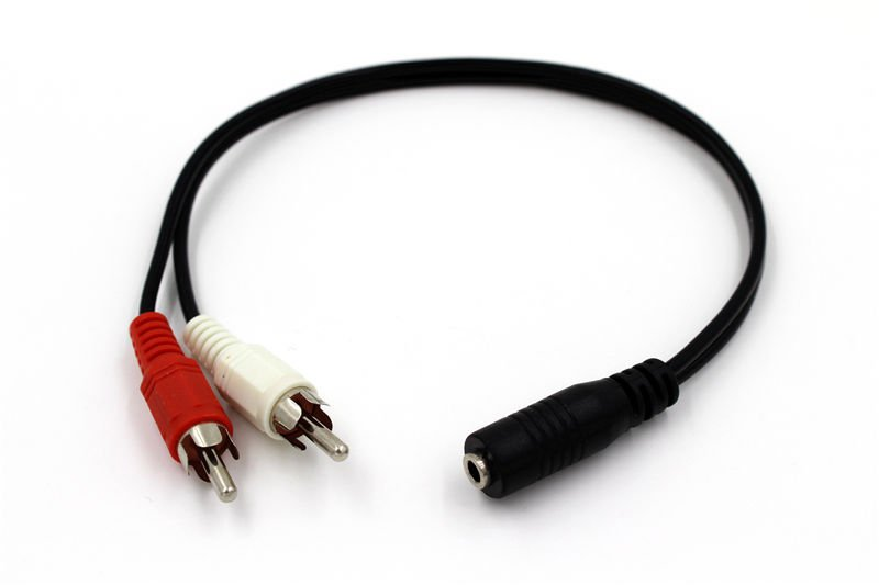 2-RCA Male Plug to 3.5mm Female Aux Audio Headphone Jack Converter Adapter Cable db