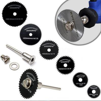 6Pcs HSS Saw Blades & 1 Mandrel For Metal Rotary Tool Cutting Discs Wheel MN