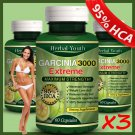3 x BOTTLES 180 Slimming Pills 3000mg GARCINIA CAMBOGIA HCA 95% Weight Loss Dietgh