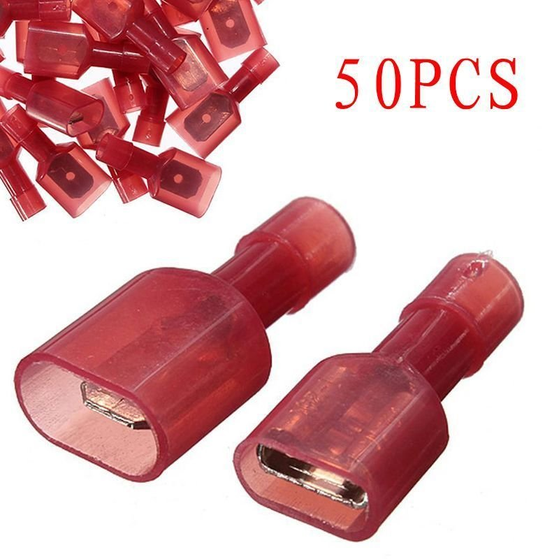 50pcs Red Male + Female Insulated Spade Wiring Crimp Terminals Connectors db