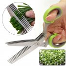 Stainless Steel 5 Blade Office Cut Shredding Scissors Sharp Herb Kitchen Tool gb