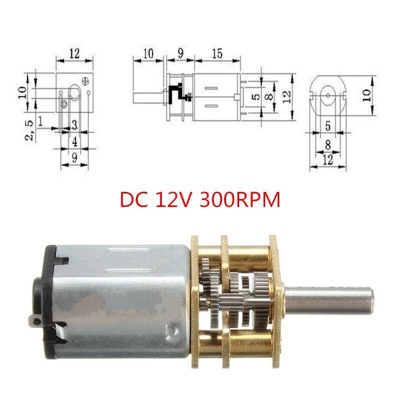 DC 12V 300RPM Mini DC Metal Gear Motor with Gearwheel Shaft Diameter N20
