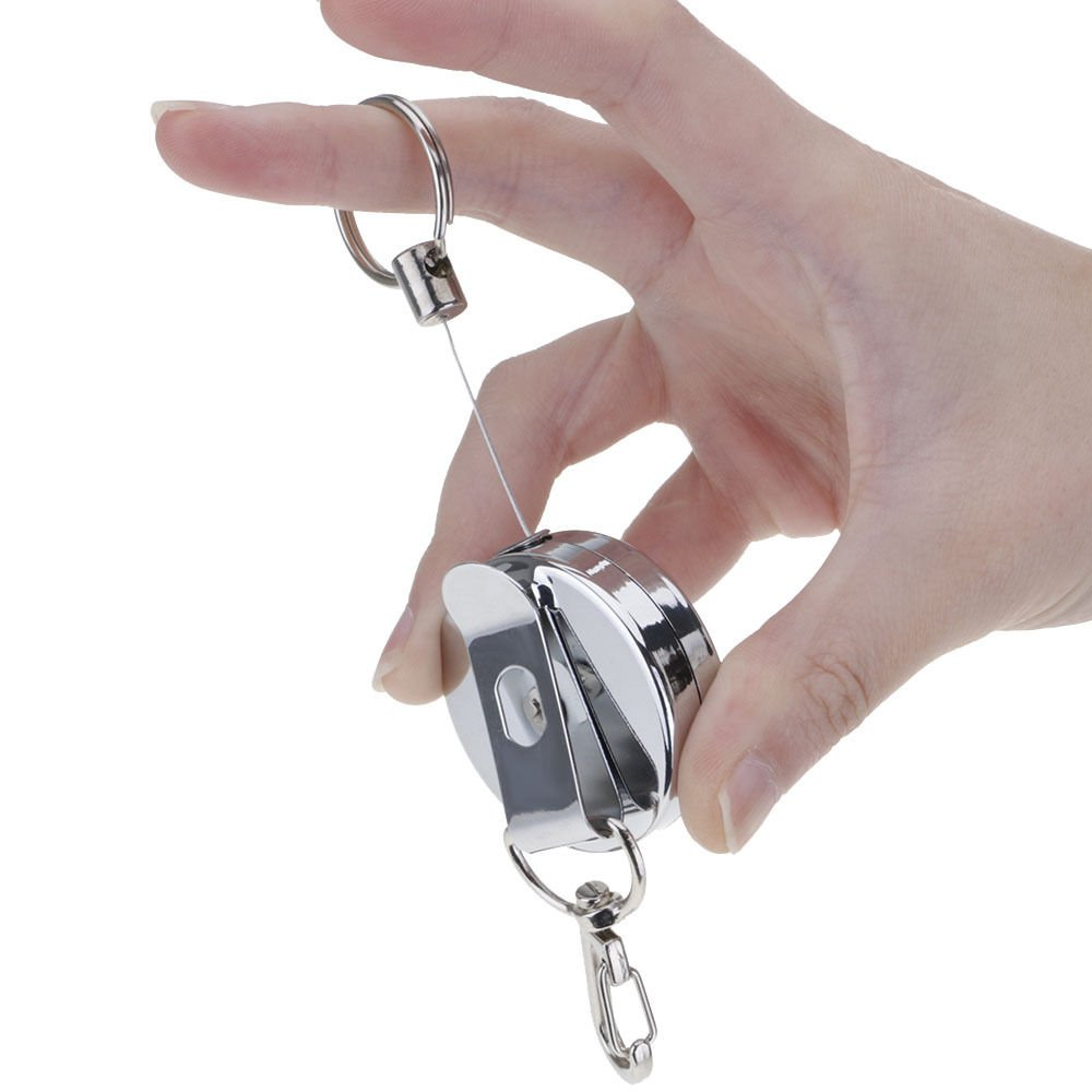 2pcs Practical Retractable Metal Wire Rope Keyring Key Chain Clip Outdoors