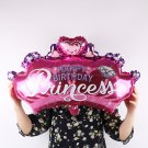5 x pink Crown princess Birthday Party Decoration Supplies Round Foil Balloon