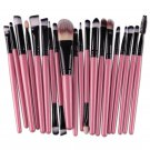 20 Makeup Set Powder Foundation Eyeshadow Eyeliner Lip Cosmetic Brushes  Pink Color