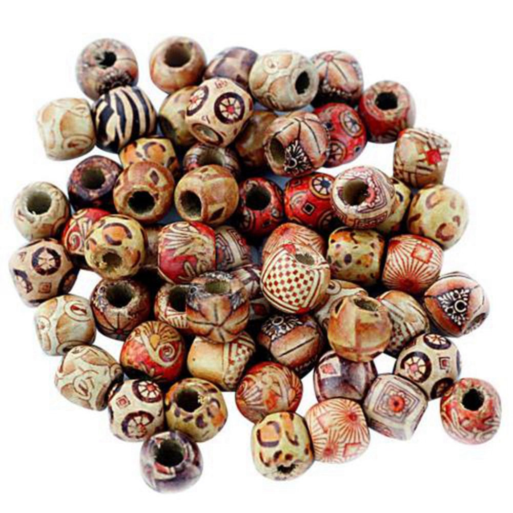 100pcs Assorted Round Wooden Beads for Jewelry 10mm