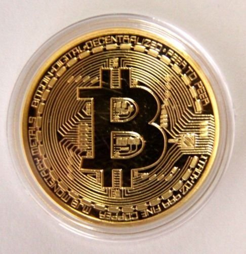 Gold Bitcoin Commemorative Round Collectors Coin Bit Coin is Gold Plated Coinsss