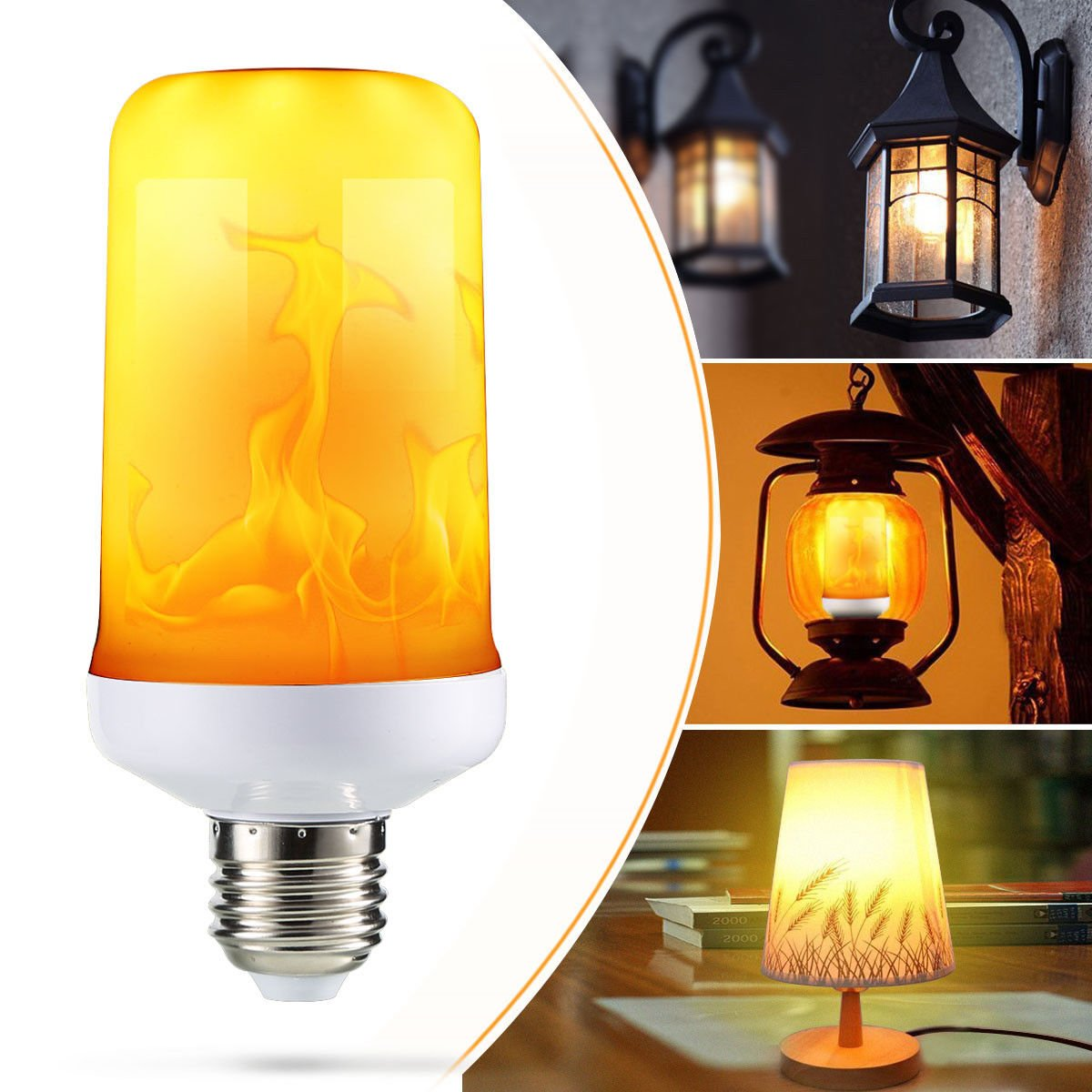 4 Modes with gravity sensor LED Flame Effect Simulated Nature Fire Light Bulb E27 9W Lampss
