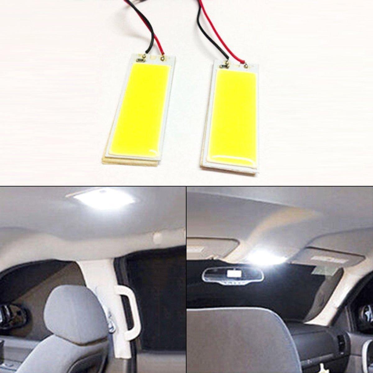 2 x White COB 36-LED Plate Car Interior Dome Light Bulb T10 Festoon 12V Lightss