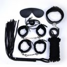 7pcs/set-Adult-Sex-SM-Toys-Handcuffs-Cuffs-Strap-Whip-Rope-Neck-Bandage-black
