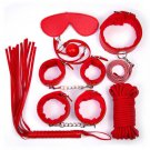 7pcs/set-Adult-Sex-SM-Toys-Handcuffs-Cuffs-Strap-Whip-Rope-Neck-Bandage-red