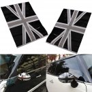 2x Union Jack Flag Side Mirrors Black Decals Vinyl Stickers For BMW Mini Cooper.