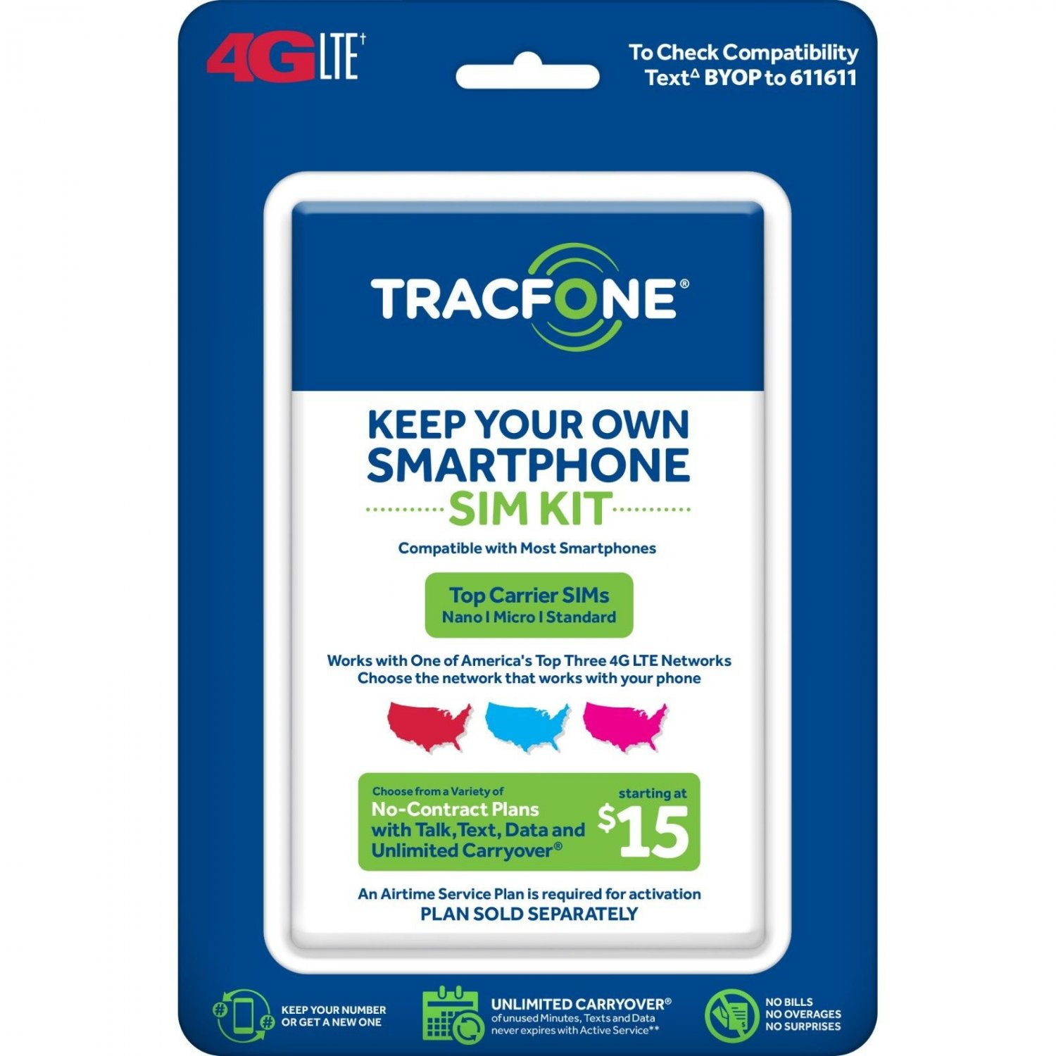 2 x Tracfone Keep Your Own Phone 3-in-1 Prepaid SIM Card Kit ..